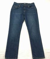 Ann Taylor LOFT Women's Size 2 Curvy Straight Crop Jeans Dark Wash Blue Low Rise