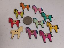 "10 PAINTED HORSE 2-hole Wood Buttons 1-3/16"" (30mm) Scrapbook Craft (1184)"