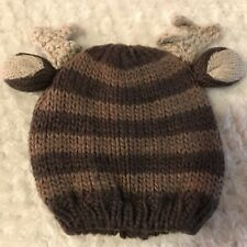 Newborn Crochet Hat Deer Photo Prop Christmas Card Reindeer Baby Boy Cap EUC