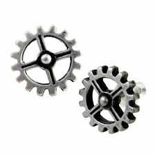 Alchemy Gothic Pewter Steampunk Industrilobe Coeur du Morteur Cog Gear Earrings