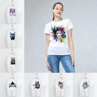 Cool Animal White T-Shirt Shirts Women Fashion Casual Summer Tops Tee O Neck DIY