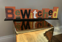 Halloween Wooden Sign BEWITCHED Vintage Style
