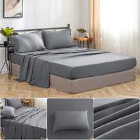 Queen Bed Sheet Set Bedding Fitted Sheet Flat Sheet Pillowcase Microfiber Gray