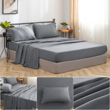 Mohap 4Pcs Bed Sheet Set- Deep Pocket Wrinkle Stain Resistant Microfiber Gray