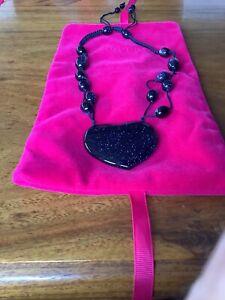 Lola Rose Bluesandstone Large Heart Necklace New