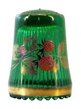 Fingerhut de verde vaso de cristal, estampado de fresas y borde de oro-ae769