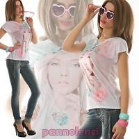 Maglia donna t-shirt avvitata maglietta larga stampa asimmetrica nuova AS-1022