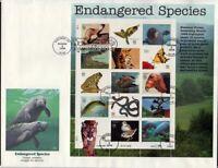 1996 Endangered Species Sc 3105 full sheet FDC Fleetwood