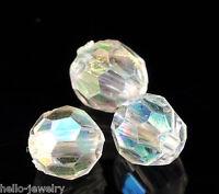 500 Neu Klar Bicone Rhombe Rund Facettiert Acryl Böhmen Perlen Beads 6mm