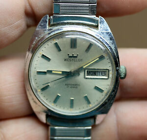 Vintage Westclox Mens Automatic Watch  17 Jewels Day Date Runs