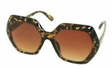 Womens Sunglasses Brown Tortoiseshell Oversized Hexagonal Frames Retro Style 809