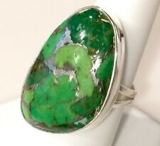 Large Vibrant Green Copper Turquoise Solid Sterling Silver Ring 9.6g Size 8.25