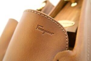 $620 Salvatore Ferragamo Mens ACORN Shoes Driving Loafers Tan Drivers 12 EE