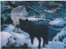 wolf black white snowy 3D Lenticular Holographic Stereoscopic Picture Wall Art