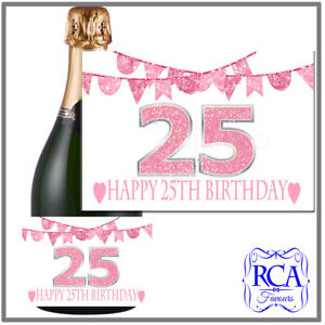 Number Birthday Sticker / Bottle Labels to fit champagne style 19th, 45th, 65th