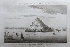 1779 Good size antique print: St Michaels Mount, Cornwall