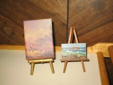 Lot of Dollhouse Miniature Original Sea Oil Painting & Landscape Print