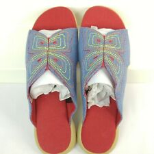 Denim Butterfly Slides Sandals Shoes Size 7 Open Toe Blue Jean Embroidered