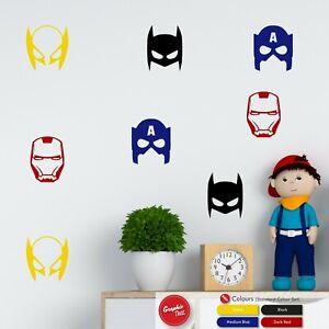 Superhero Masks Wall Sticker Set Boys Bedroom Vinyl Decals Stickers x24