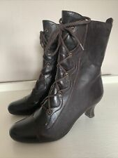 CLARKS Brown Leather Lace Up & Zip Steampunk Victorian Style Ankle Boots - UK 6