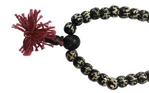 Mala Necklace Black Bone w Om Symbol Meditation 108/10mm Prayer Beads Buddhism