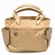Authentic Chanel CC Paris Biarritz Tote GM Shoulder Hand Bag Nylon Beige Italy