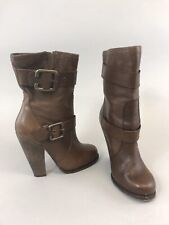 Aldo Size 37 US6 UK4 Brown Leather Ankle Buckle Heeled Booties Boots