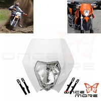 Dirt Bike Headlight Fit KTM EXC Suzuki RM RMZ Honda XR White Head Lamp Fairing