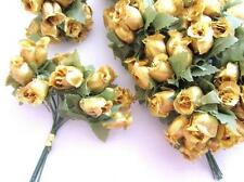 "144 Poly Silk Rose Flower 4"" Stem/leaf/trim/Wedding Bouquet H415-Wholesle-Gold"