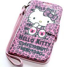 For Samsung Galaxy S4 - PINK LEOPARD HELLO KITTY LEATHER WALLET POUCH CASE COVER