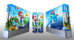 Skin Sticker Cover For Nintendo Wii Console and 2 Remotes Super Mario Galaxy 219
