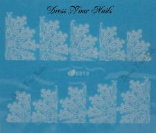 Nail Water Decal - White Lace Wedding Elegant Transfers Sticker -D-213W - UK