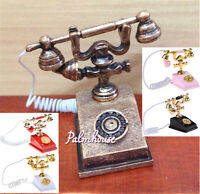 1/12 Doll House Furniture Miniature Retro Phone Vintage Telephone For Gift FG