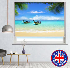 Long Boats Thailand Beach Printed Picture Photo Roller Blind Blackout Remote