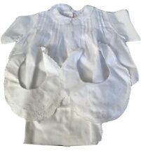 Vintage Baby CHRISTENING Imported Hand Made Dress With 2 Darling Baby Bibs