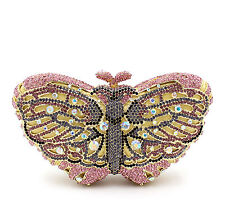 Handmade Butterfly Crystal Wedding Bridal Party Prom Cocktail Evening Bag Clutch