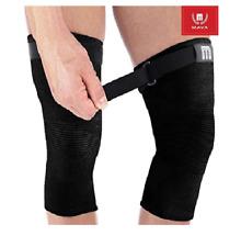 Mava Sports Knee Support Sleeves Pair All Black Strap XL