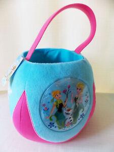NEW Disney FROZEN Plush Jumbo Halloween Treat Bag Basket Bucket Elsa Anna