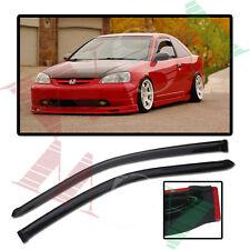 Smoke Tinted Side Window Visors Rain Deflectors For 01-05 Honda Civic 2Dr Coupe