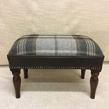 Footstool upholstered in Kilmory plaid 100% wool