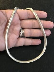 """Made In Italy Vintage Sterling Silver Snake Omega  Chain 25.6 Gram 16"""" 5mm Wide"""