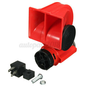 12V 150dB Klaxon Double Trompe Sonore Compresseur Relais Électrique Rouge Auto