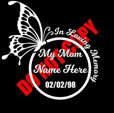 In Loving Memory of My Mom Custom Car Vinyl Decal Window Sticker Cute Butterfly
