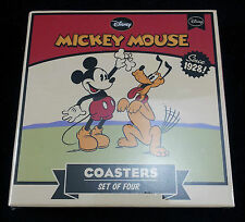 DISNEY Mickey Mouse Vintage Coasters in a sleeve Set of 4 Great fun Gift New