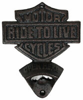 Harley Davidson Black Wall Mount Beer Bottle Opener New Cast Iron RIDE TO LIVE