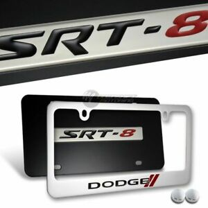 Dodge Challenger SRT-8 Stainless Steel License Plate Frame w/ caps -FRONT & BACK