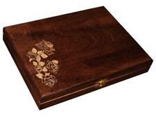 LAQUERED WOOD WOODEN BOX HINGED JEWELLERY BOX DECOUPAGE MEMORY TRINKET (P31BB)