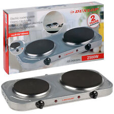 Dunlop Portable 2 Twin Ring Hot Plate Mini Electric Hob Cooking Free Standing