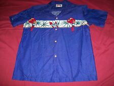 Hawaiian Shirt Mens Large Blue Paradise Found Parrot Vintage Made in HI