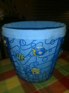 FISH waste laundry basket nautical bathroom decor lake cottage summer home NEW